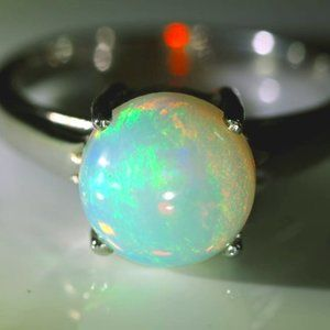 Jewelry - Opal 3.01ct Platinum Finish Solid Silver Ring